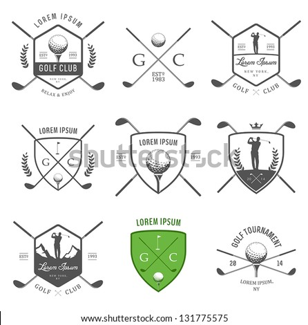 Set of vintage golf labels, badges and emblems