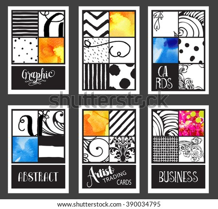 Set of Vintage Graphic Cards - Hand drawn hipster collages and textures made with ink and watercolor. Abstract retro patterns for banners, placards, posters and brochure designs - stock vector
