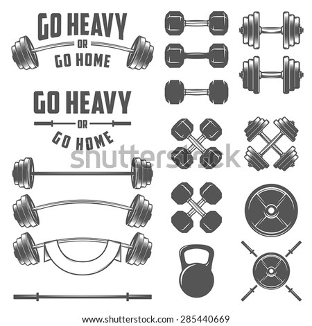 Set of vintage gym equipment, quotes and design elements - stock vector