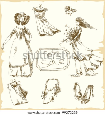 Set of vintage hand drawn elements of fashion, and old - fashioned girls - stock vector