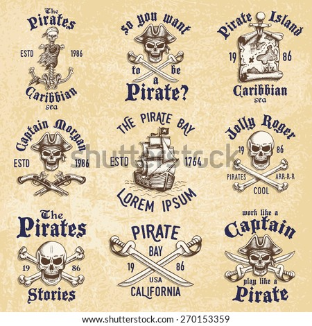 Set of vintage hand drawn pirates designed emblems, labels, logos and designed elements. Isolated with a scratched background. Doodle style. Proverbs. Layered. - stock vector