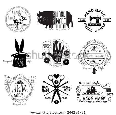 Set of vintage  hand made  logo, labels, emblems and designed elements - stock vector