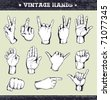 Set of vintage hands. Retro styled design elements. Layered. Vector EPS 10 illustration. - stock photo