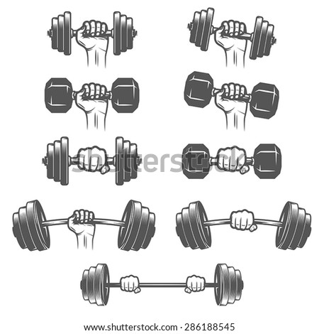 Set of vintage hands with dumbbells  - stock vector