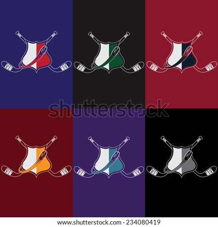 set of vintage hockey crests - stock vector