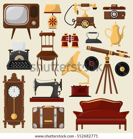 Set of vintage home furniture and accessories  Retro interior  chair  sofa   lamp. Antique Furniture Stock Images  Royalty Free Images   Vectors