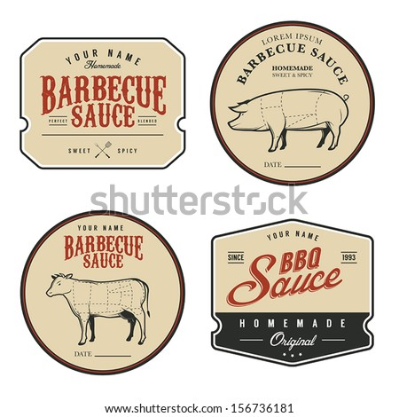 Set of vintage homemade barbecue sauce labels - stock vector