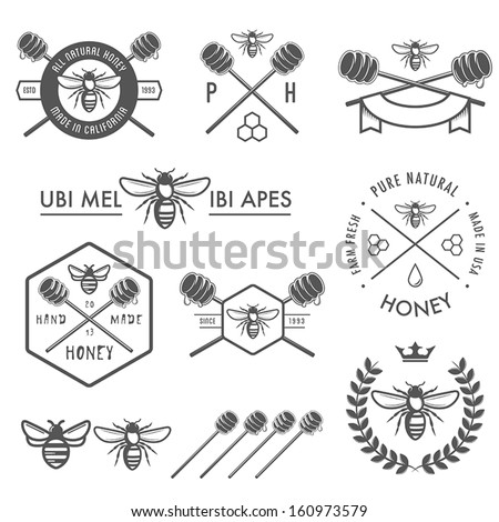 Set of vintage honey labels, badges and design elements - stock vector