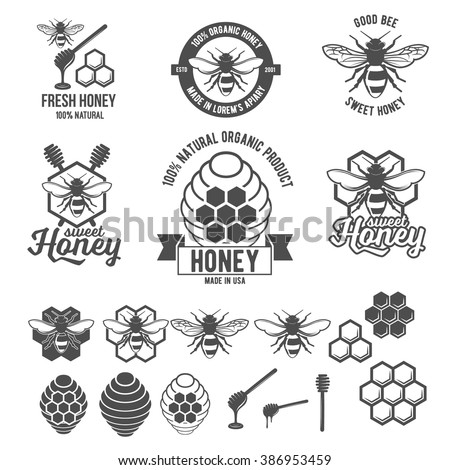 Set of vintage honey labels, badges, logotypes and design elements. Apiary logo template - stock vector