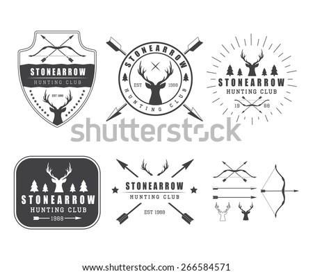 Set of vintage hunting labels, logo, badge and design elements - stock vector