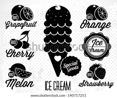 Set of Vintage Ice Cream Badges and Labels - stock vector