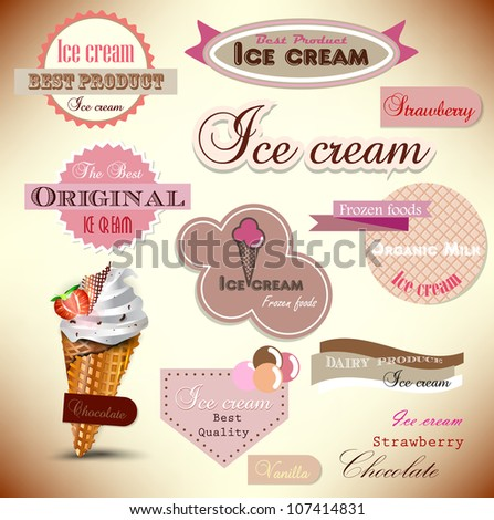 Set of vintage ice cream shop badges and labels - stock vector