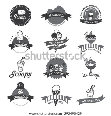 Set of vintage ice cream shop logo badges and labels - stock vector
