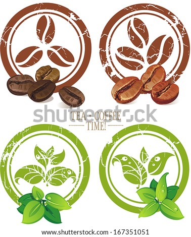 Set of vintage icons with coffee beans and tea leaves. Vector illustration - stock vector