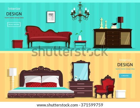 Set of vintage interior design house rooms with furniture icons: living room and bedroom. Flat style vector illustration. - stock vector