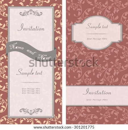 set of vintage invitation cards with flower pattern