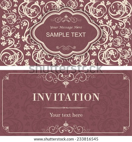 set of vintage invitation cards with victorian pattern - stock vector