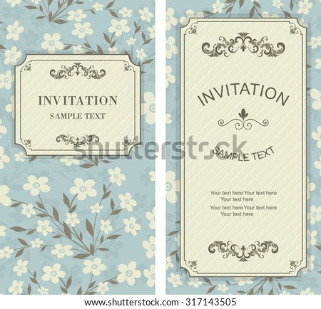 set of vintage invitation cards with victorian pattern