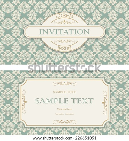 set of vintage invitation with victorian pattern