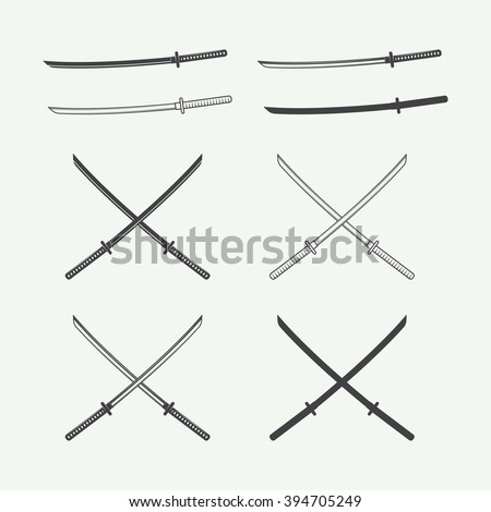 Set of vintage katana swords in retro style. Vector illustration