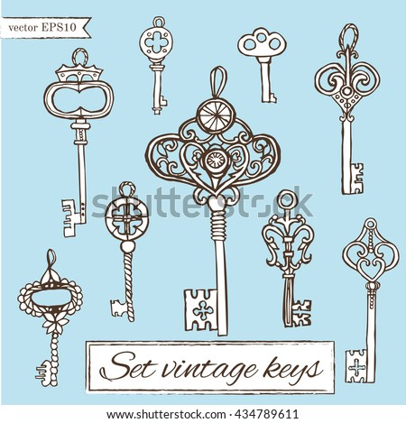 set of vintage keys.handmade work - vintage key