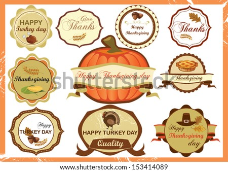 Set of vintage label for Thanksgiving day - stock vector
