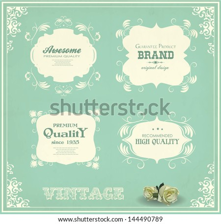 set of vintage labels and calligraphic design elements
