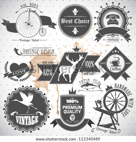 set of vintage labels and stamps - stock vector