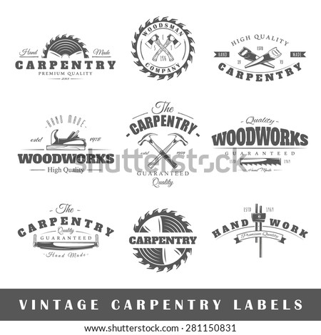 Set of vintage labels carpentry. Posters, stamps, banners and design elements. Vector illustration - stock vector