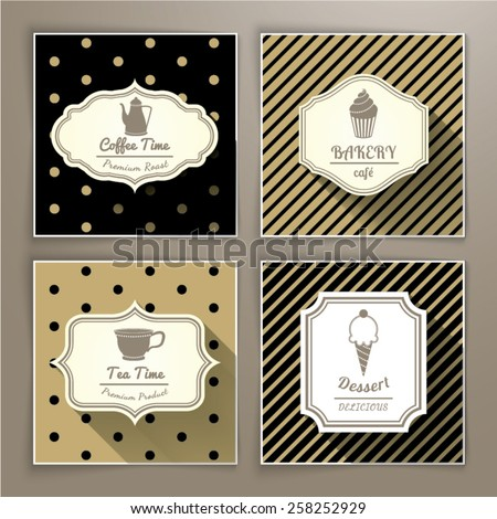 Set of vintage labels coffee bakery tea and dessert