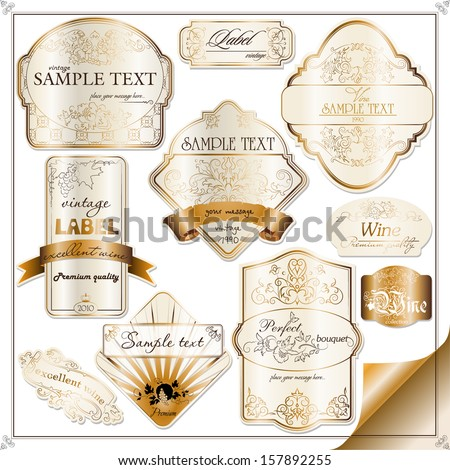 set of vintage labels for wine with grapes - stock vector