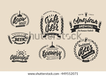 Set Vintage Labels Logo Templates Beer Stock Vector (Royalty Free ...