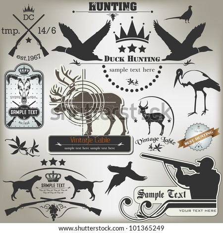 Set of vintage labels on hunting - stock vector
