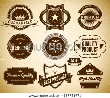Set of vintage labels on the cardboard. Collection 21 - stock vector