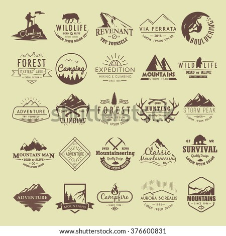 Set of vintage labels on the theme of Climbing, Trekking, Hiking, Mountaineering, Hunting. Extreme sports, outdoor recreation, adventure in the mountains, vacation. Achievement.  - stock vector