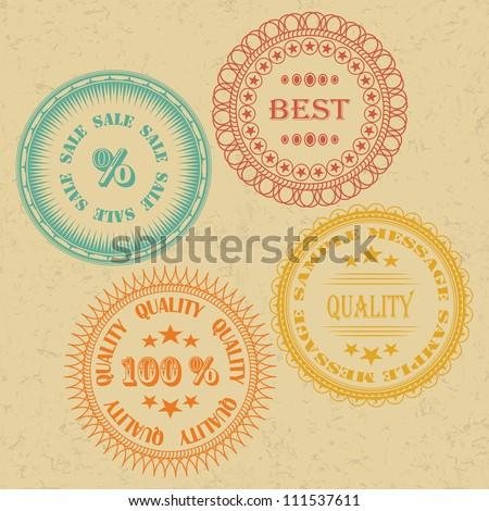 Set of Vintage Labels. Retro Design, Grunge Effect - stock vector