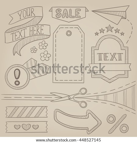 Set of vintage labels, ribbons, frames, banners, advertisements and elements. Sale concept. Hand drawn vector sketch illustration. Old paper vintage background.