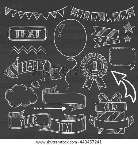 Set of vintage labels, ribbons, frames, banners and elements for party or birthday invitation. Hand drawn in chalk on a blackboard vector sketch illustration. - stock vector