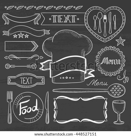 Set of vintage labels, ribbons, frames, banners, logo and advertisements for restaurants food menu board. Hand drawn in chalk on a blackboard vector sketch illustration.