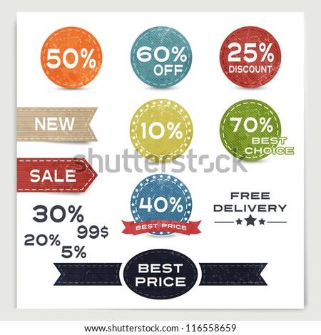 Set of vintage labels Sale - stock vector