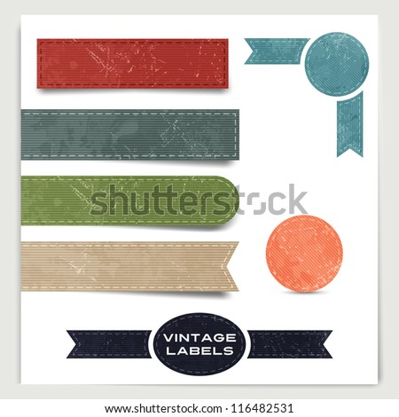 Set of vintage labels, stickers and banners - stock vector