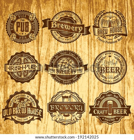 Set of vintage labels templates of pub, brewery or beer on the old wood pattern - stock vector