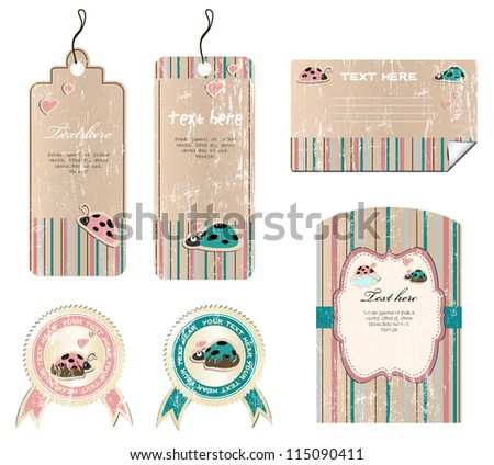 set of vintage labels, vector illustration 8 - stock vector