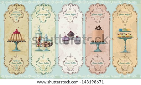 Set of vintage labels with cakes and chocolate sweets - stock vector