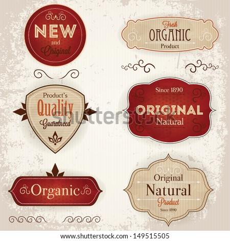 Set of vintage labels with ecological thematics - natural, organic, and quality guarantee labels. EPS10 - stock vector