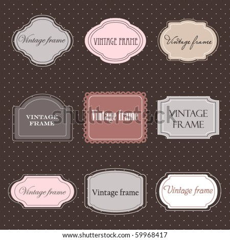 Set of vintage labels with polka dot background - stock vector
