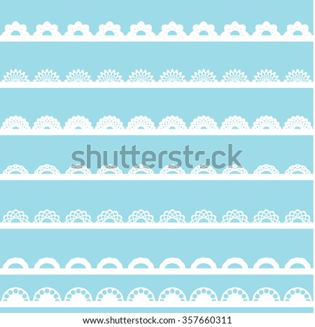 Set of vintage lace borders.  - stock vector