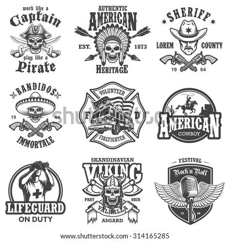 Set of vintage lifestyle emblems, labels, badges, logos. Monochrome style - stock vector