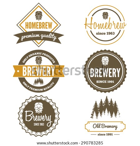 Set of vintage logo, badge, emblem or logotype elements for beer, beer shop, home brew, tavern, bar, cafe and restaurant - stock vector
