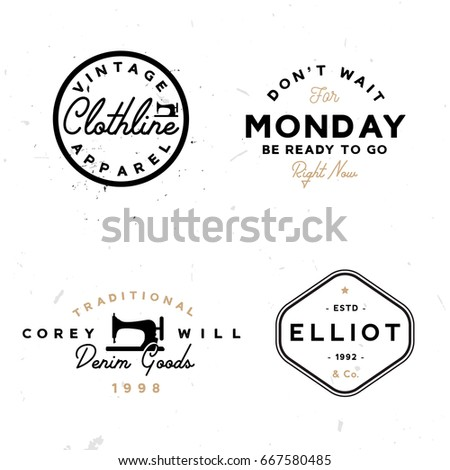 Set Of Vintage Logo Templates In Minimal Style Vector Stock Use It Like As